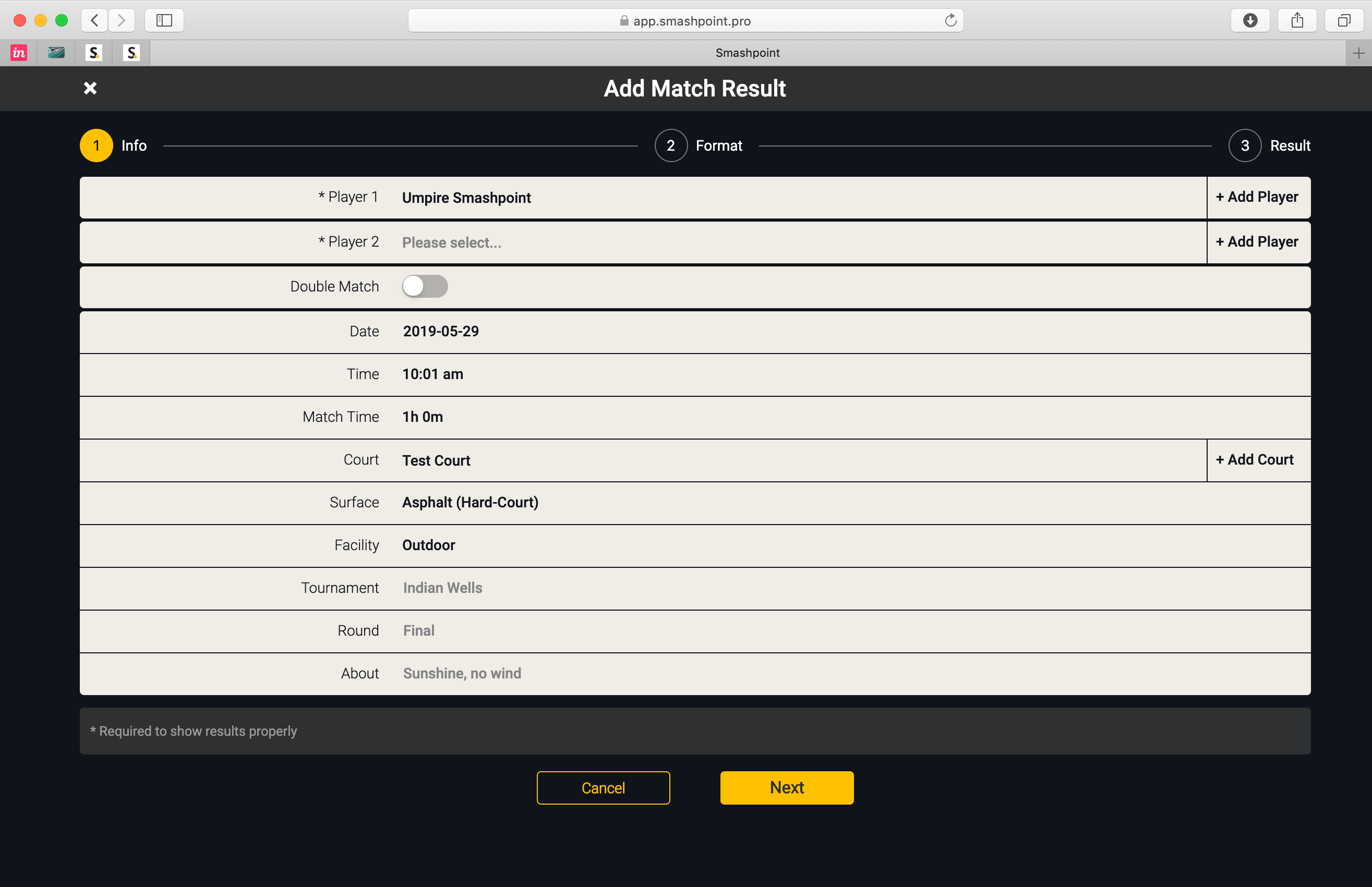 Smashpoint Web App – Add Match