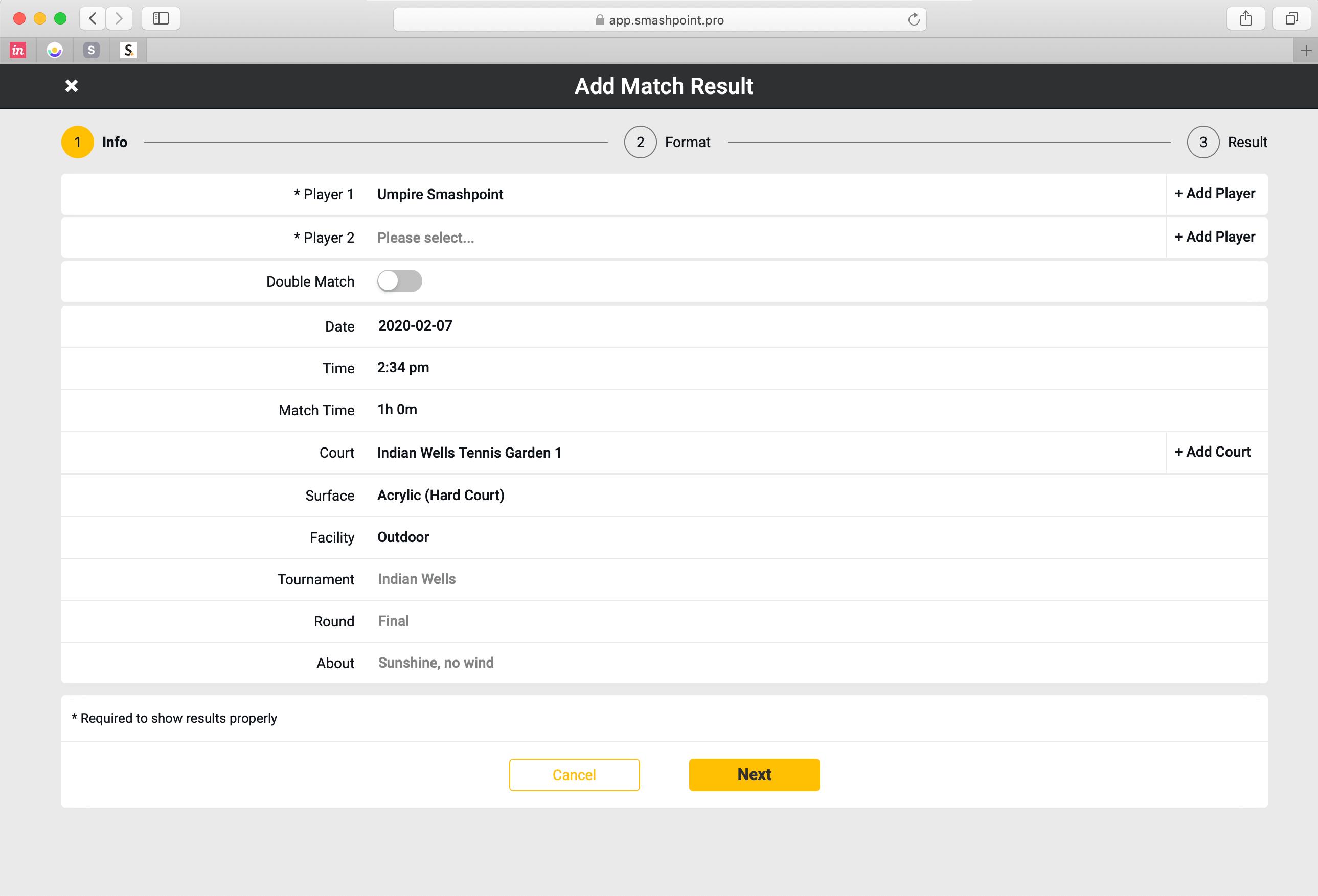 Smashpoint Web App Add Match