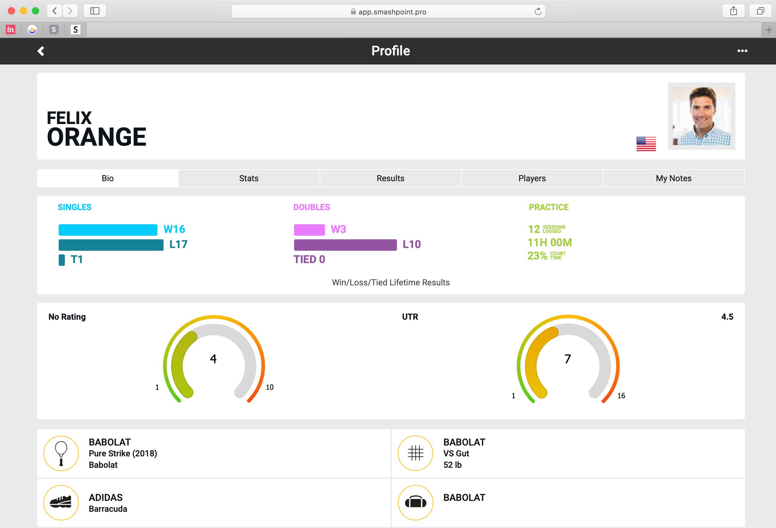 Smashpoint Web App Player Profile