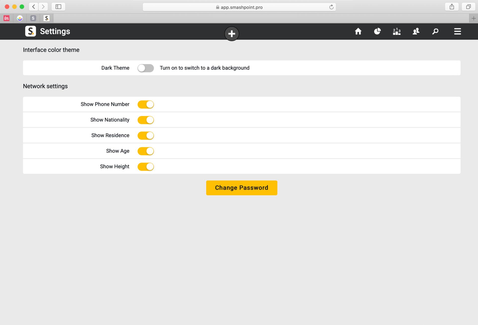 Smashpoint Web App Settings